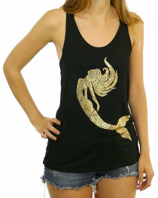 Mermaid Made Out of Golden Foil Paisley Women's Tank Top