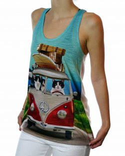funny cat tank top roadtrip vw van