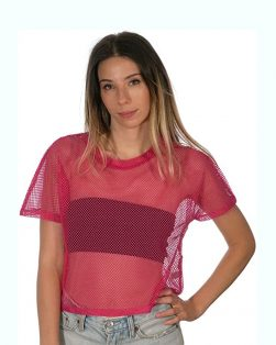 Pink Fishnet Festival Crop Top