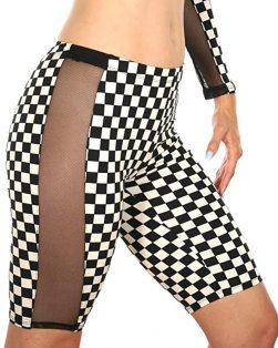 high waist checker biker shorts