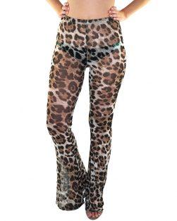 sheer leopard bell bottoms